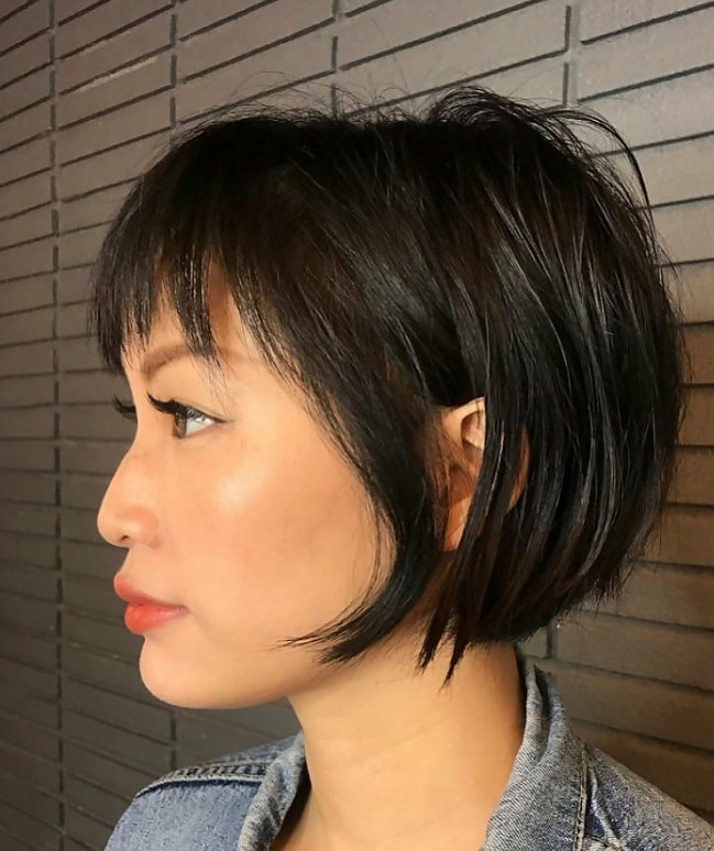 short weave bob with bangs