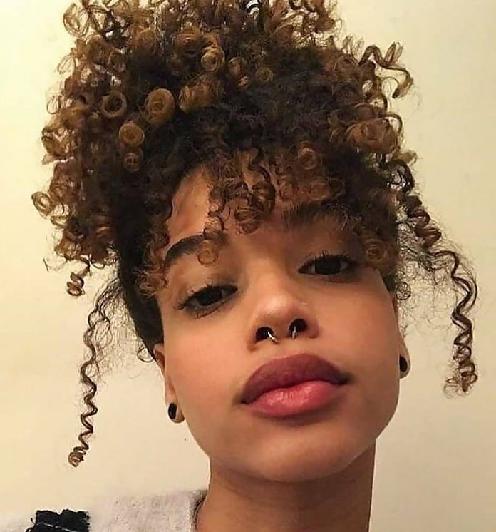 short curly updo with bangs