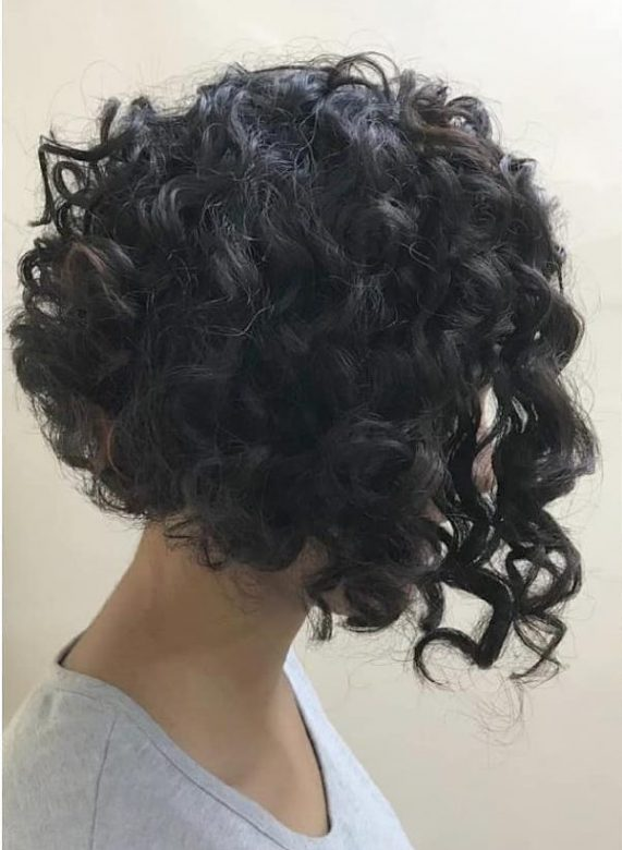 Short and Curly Inverted Bob