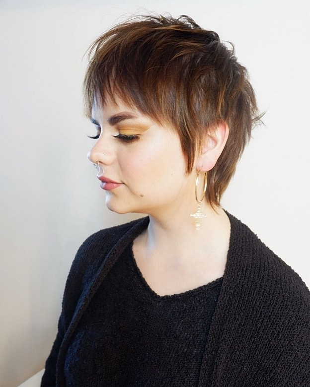 short shag with highlights for fine hair