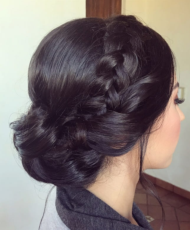 side braid low bun for women