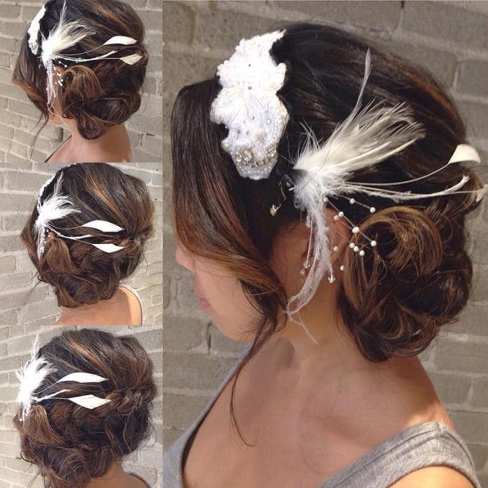 side braid bun with accessories
