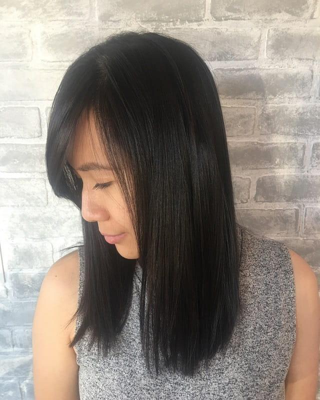side part sew in straight hair with bang