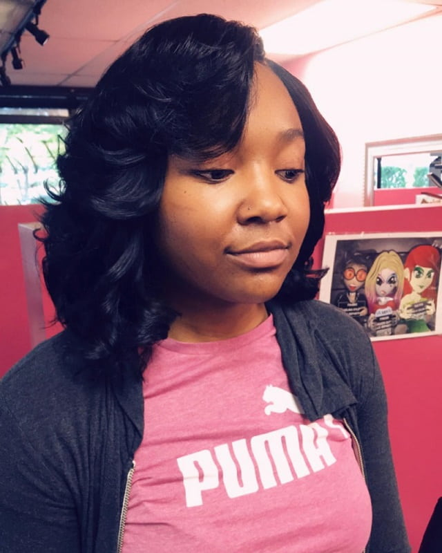 medium side part sew in with bangs