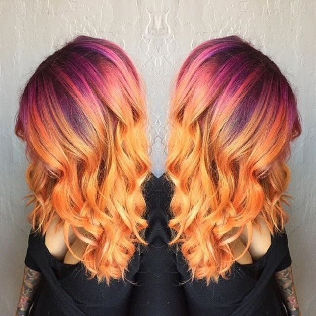 beach curls with sunset ombre