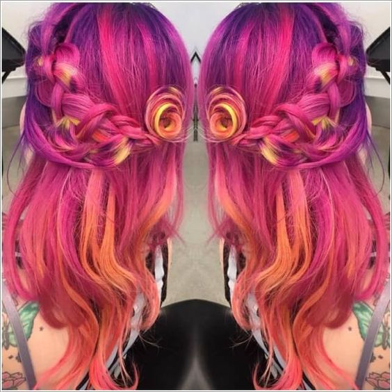 sunset ombre braided flower