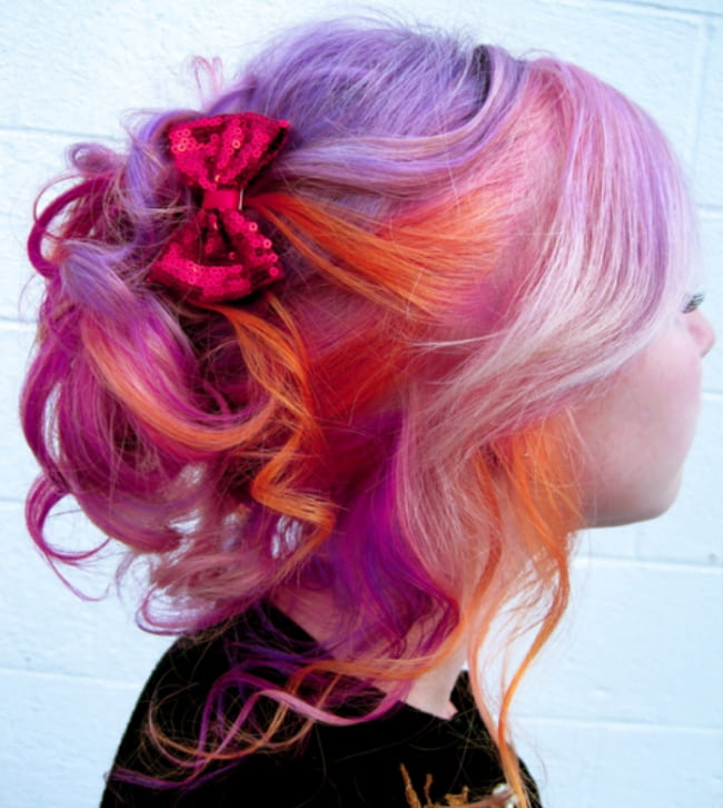 sunset ombre messy bun