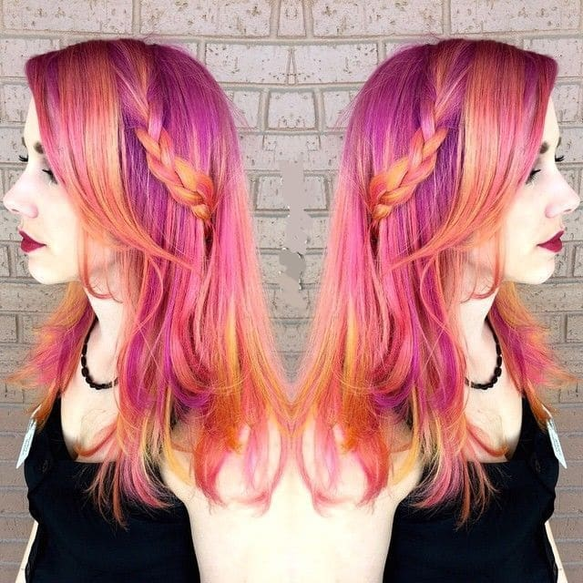 sunset ombre side braided hair