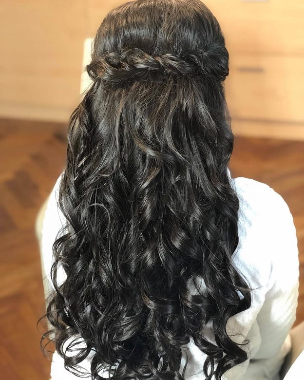Waterfall Curls with a Twisted Hairstyle