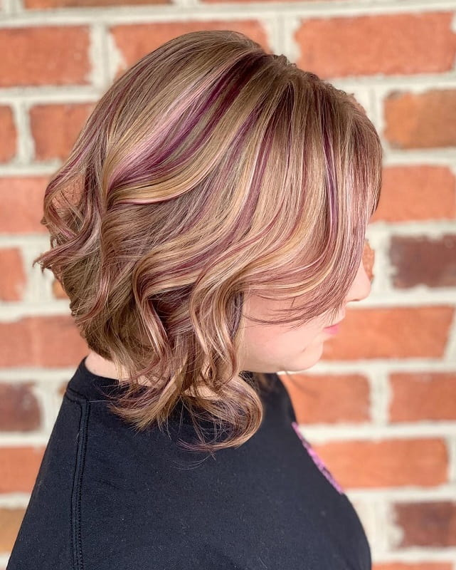 honey blonde hair with purple highlights
