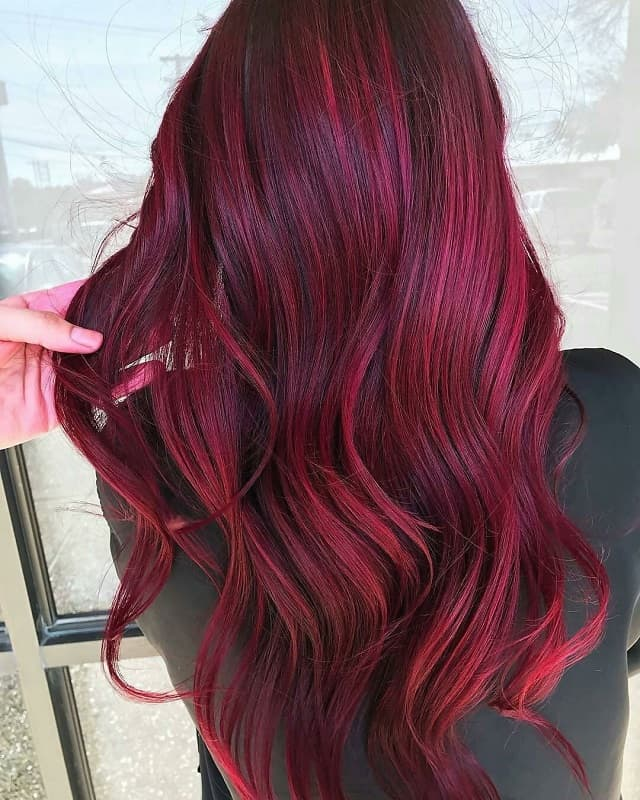 balayage ruby red hair