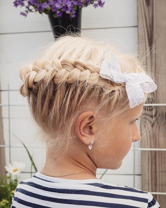 dutch braid crown with bow