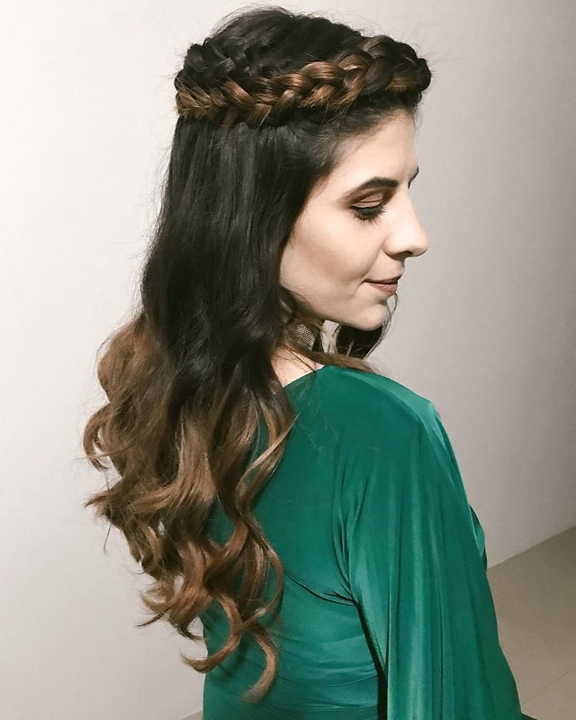 ombre hair with half up dutch braid