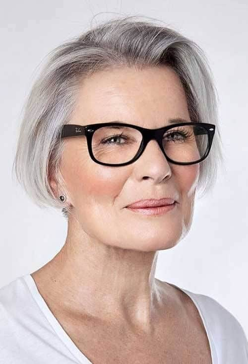 women over 50 with glasses short hairstyles