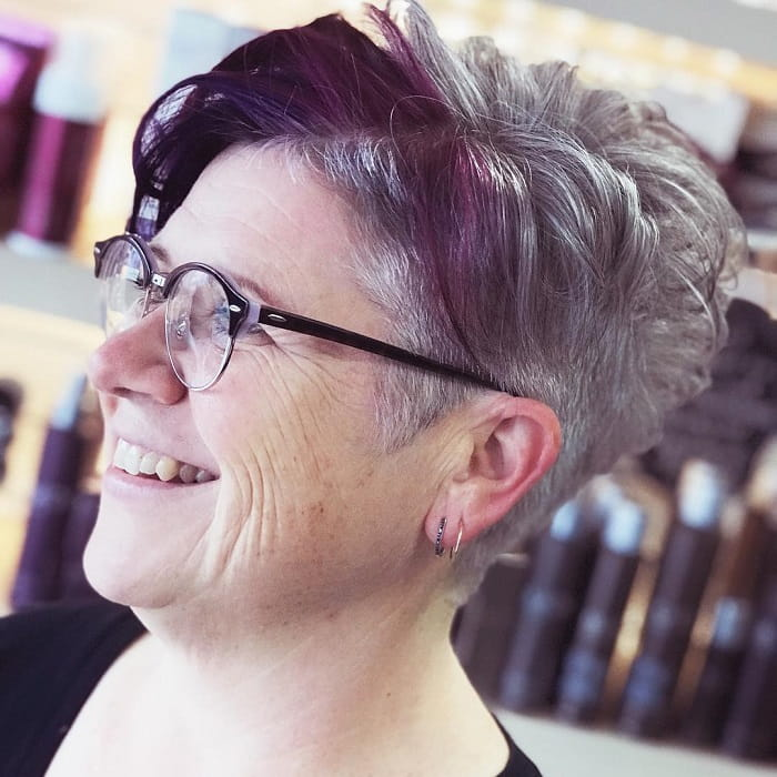over 50 women with short purple hair and glasses