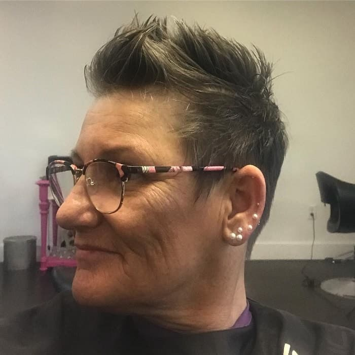 short faux hawk for over 50 with glasses